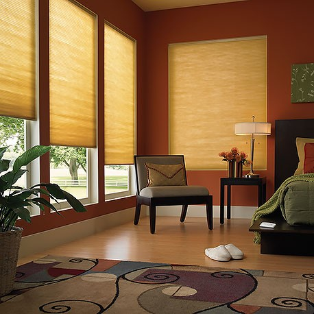 motorized double cell blackout honeycomb shades