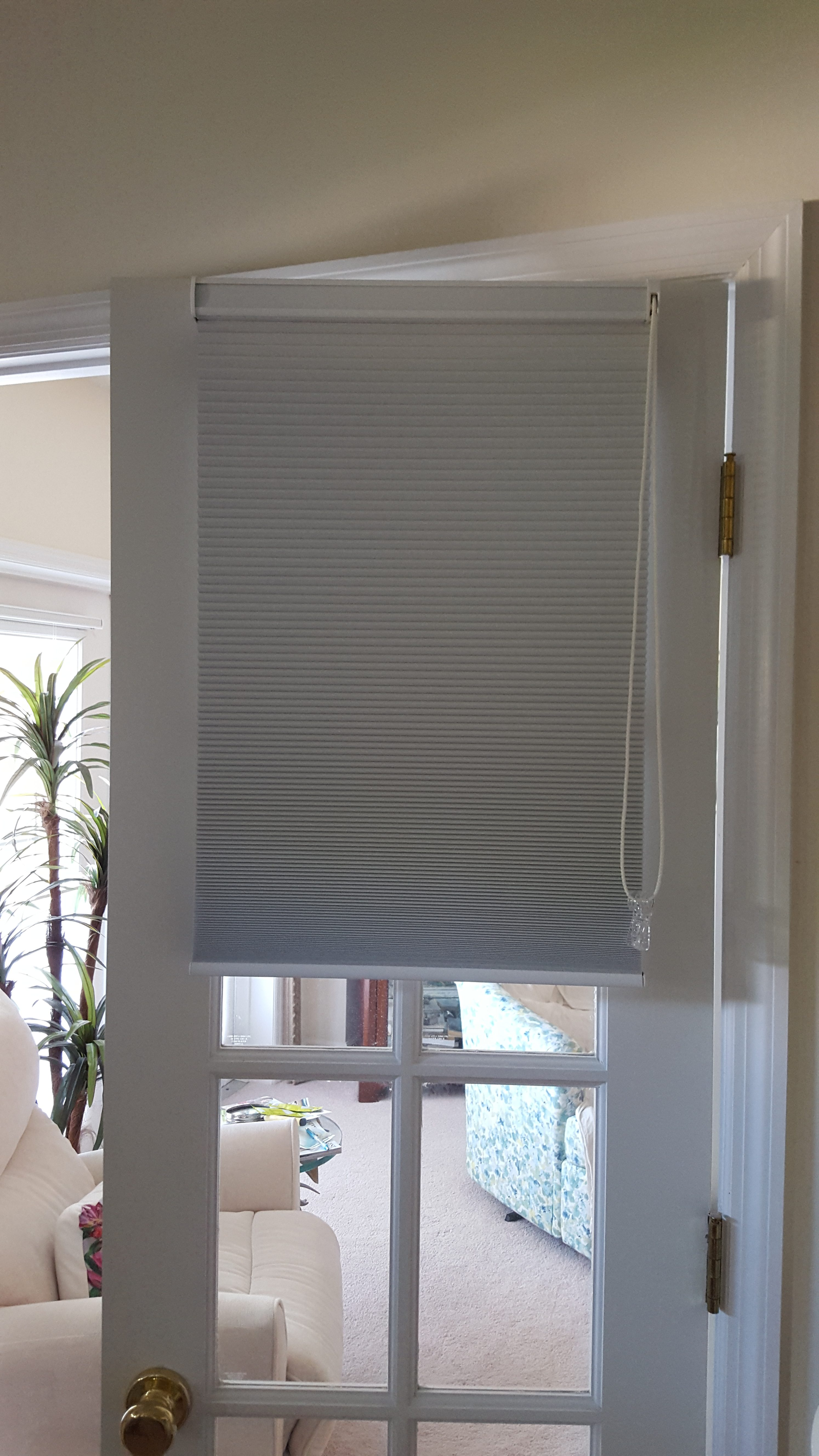 cellular shade on swinging door